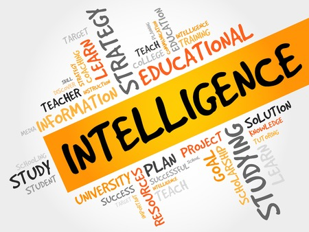 endings: Intelligence word cloud, education concept Illustration