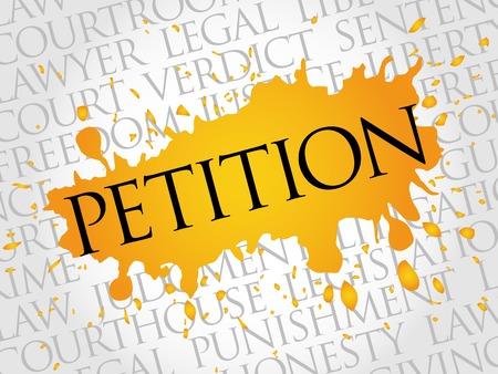 court process: Petition word cloud concept Illustration