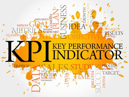 KPI - Key Performance Indicator word cloud, business concept Vectores