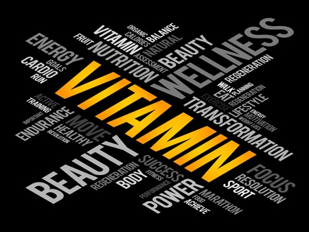 oxidative: VITAMIN word cloud, fitness, sport, health concept