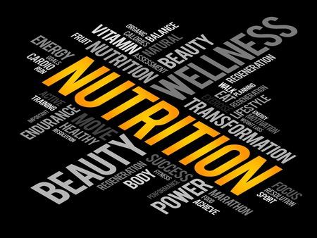 nutrici�n: Nutrici�n nube de palabras, fitness, deporte, concepto de salud Vectores