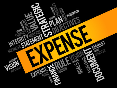 tax policy: Expense word cloud, business concept Illustration