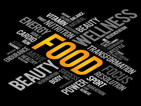 vitamine: FOOD word cloud, fitness, sport, health concept