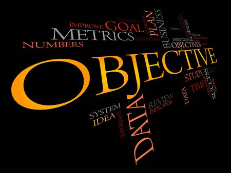 objective: Objective word cloud, business concept