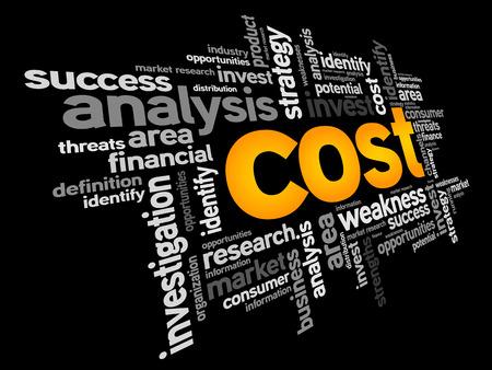 コストの単語の雲、ビジネス コンセプト