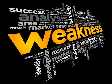 weakness: Weakness word cloud, business concept Illustration