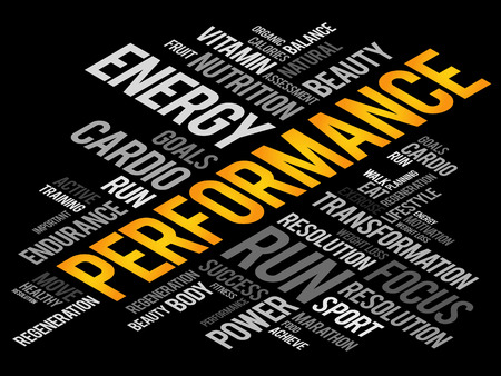 performed: PERFORMANCE word cloud, fitness, sport, health concept