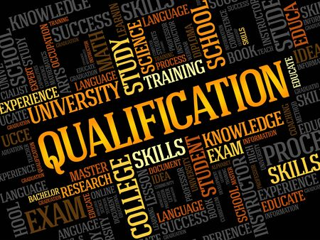 qualification: Qualification word cloud, education business concept