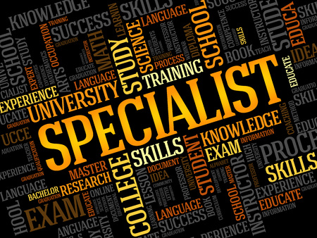 credential: SPECIALIST word cloud, education business concept