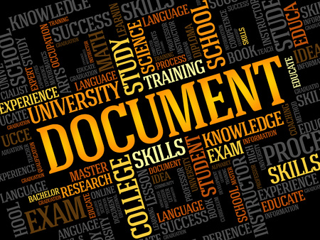 documentation: DOCUMENT word cloud, business concept Illustration