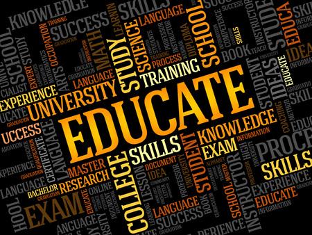 educação: EDUCAR. Collage palavra educa Ilustração