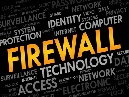 malicious software: FIREWALL word cloud, security concept