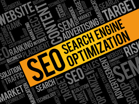 search engine optimized: SEO (search engine optimization) word cloud business concept