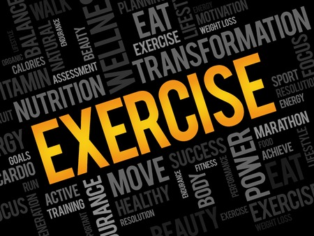 gym workout: EXERCISE word cloud, fitness, sport, health concept
