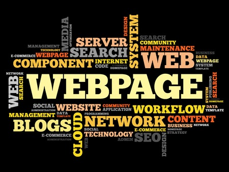 webpage: Webpage word cloud, business concept Illustration