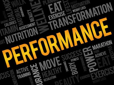 atleta: RENDIMIENTO nube de palabras, fitness, deporte, concepto de salud Vectores