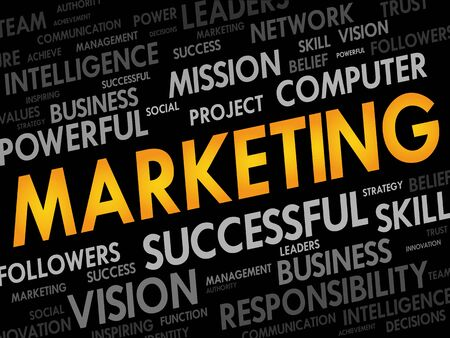 marketer: MARKETING word cloud, business concept Illustration
