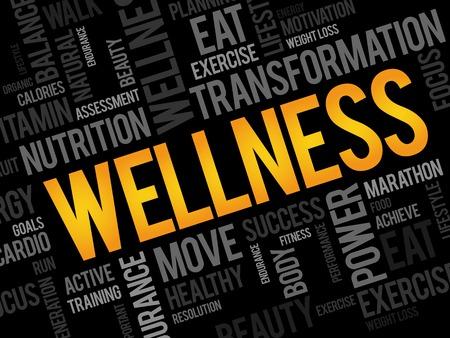 workout gym: WELLNESS word cloud, fitness, sport, health concept