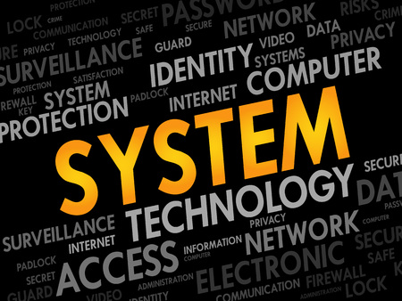 os: SYSTEM word cloud, business concept Illustration
