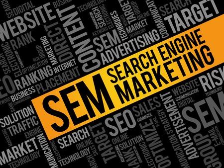 sem: SEM (Search Engine Marketing) word cloud business concept