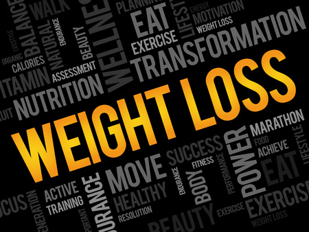 health collage: WEIGHT LOSS word cloud, fitness, sport, health concept