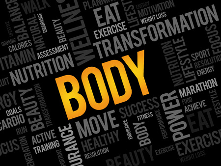 individual sports: BODY word cloud, fitness, sport, health concept