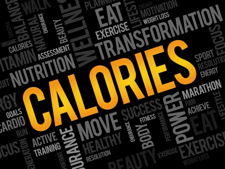 CALORIES word cloud, fitness, sport, health concept 向量圖像