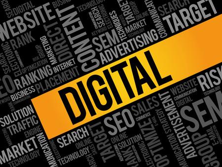 marketers: DIGITAL word cloud, business concept Illustration