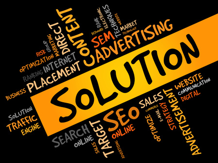 the solution: SOLUTION word cloud, business concept Illustration