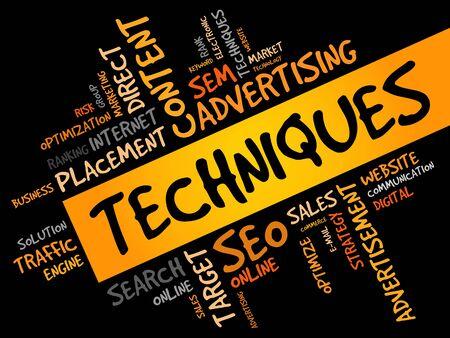 techniques: Techniques word cloud, business concept