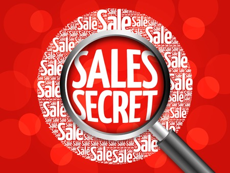 reach customers: Sales Secret word cloud with magnifying glass, business concept