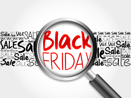 sell out: Black Friday sale word cloud with magnifying glass, business concept