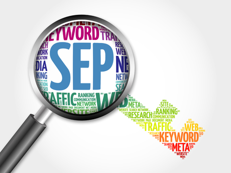 sep: SEP - Search Engine Positioning Key word cloud with magnifying glass, business concept