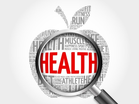 surgery costs: Health apple word cloud with magnifying glass, health concept