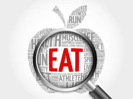 increase fruit: EAT apple word cloud with magnifying glass, health concept