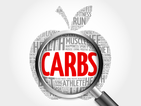 Carbs apple word cloud with magnifying glass, health concept