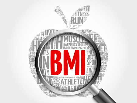 bmi: BMI - Body Mass Index, apple word cloud with magnifying glass, health concept