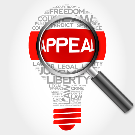appellate: Appeal bulb word cloud with magnifying glass, business concept