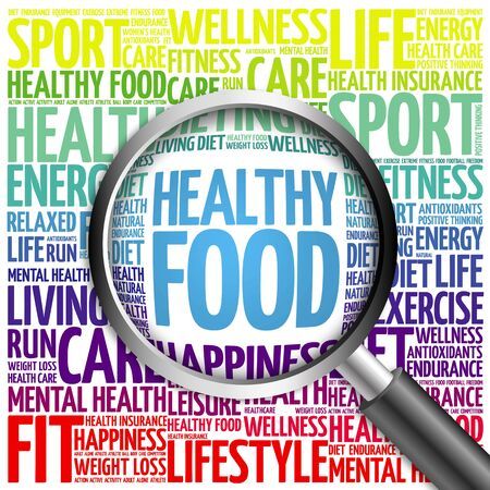 tags cloud: Healthy Food word cloud with magnifying glass, health concept