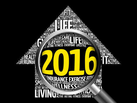 care providers: 2016 Goals Health word cloud with magnifying glas, health arrow concept Stock Photo
