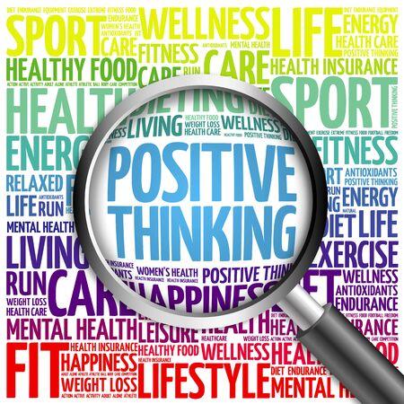 Positive pensée nuage de mot avec loupe, le concept de santé