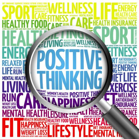 Positive thinking word cloud with magnifying glass, health concept Stok Fotoğraf