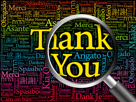 metadata: Thank You in all languages Word Cloud with magnifying glass, background concept
