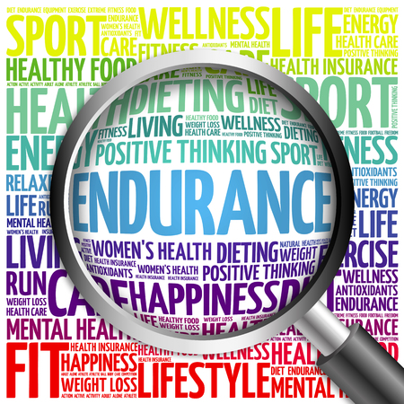 ENDURANCE word cloud with magnifying glass, health concept