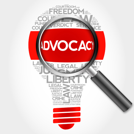 urging: Advocacy bulb word cloud with magnifying glass, business concept Stock Photo