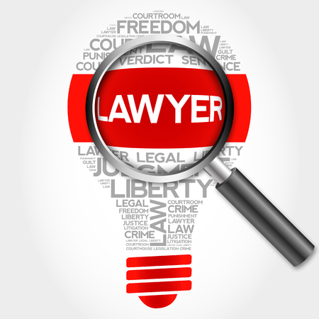 litigate: Lawyer bulb word cloud with magnifying glass, business concept