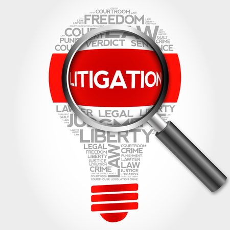 litigation: Litigation bulb word cloud with magnifying glass, business concept