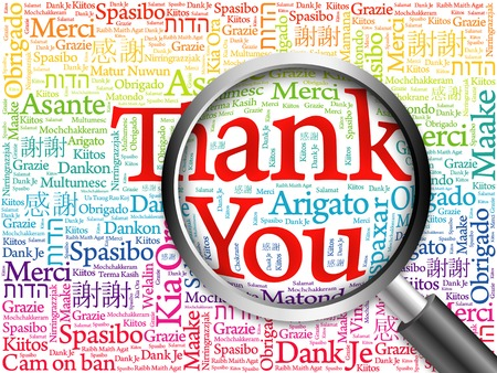 all in: Thank You in all languages Word Cloud with magnifying glass, background concept