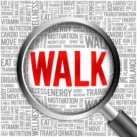 aerobic treatment: WALK word cloud with magnifying glass, health concept