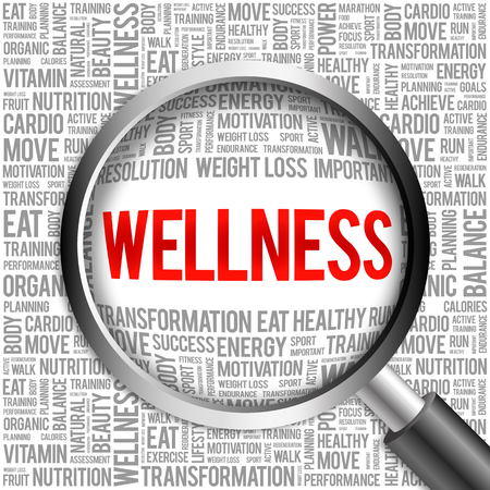 aerobic treatment: WELLNESS word cloud with magnifying glass, health concept Stock Photo
